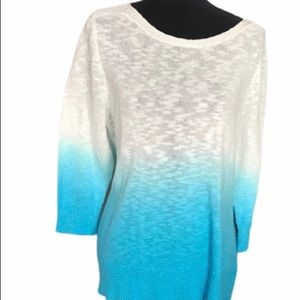 Coral Bay Ombre Long Sleeve Sweater size L Blue